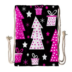 Pink Playful Xmas Drawstring Bag (large) by Valentinaart
