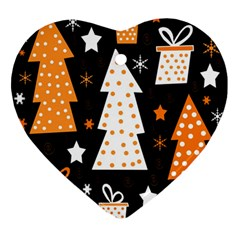 Orange Playful Xmas Ornament (heart)  by Valentinaart