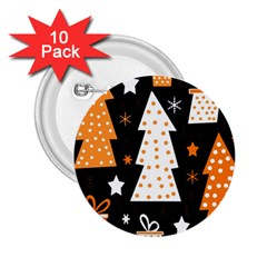 Orange Playful Xmas 2 25  Buttons (10 Pack)  by Valentinaart