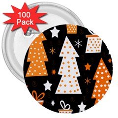 Orange Playful Xmas 3  Buttons (100 Pack)  by Valentinaart