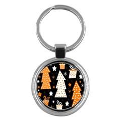 Orange Playful Xmas Key Chains (round)  by Valentinaart