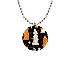 Orange Playful Xmas Button Necklaces by Valentinaart