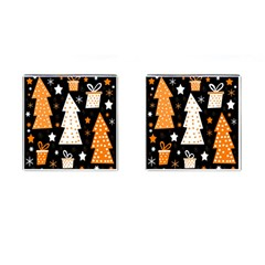 Orange Playful Xmas Cufflinks (square) by Valentinaart