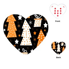 Orange Playful Xmas Playing Cards (heart)  by Valentinaart
