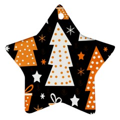 Orange Playful Xmas Star Ornament (two Sides)  by Valentinaart
