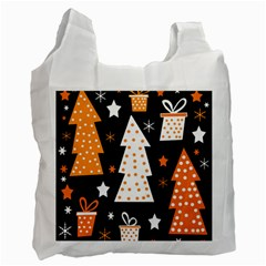 Orange Playful Xmas Recycle Bag (two Side)  by Valentinaart