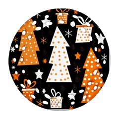 Orange Playful Xmas Round Filigree Ornament (2side) by Valentinaart