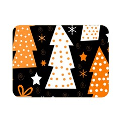 Orange Playful Xmas Double Sided Flano Blanket (mini)  by Valentinaart
