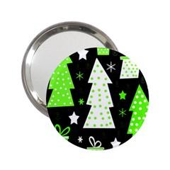 Green Playful Xmas 2 25  Handbag Mirrors by Valentinaart