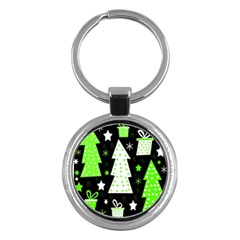 Green Playful Xmas Key Chains (round)  by Valentinaart