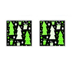 Green Playful Xmas Cufflinks (square) by Valentinaart