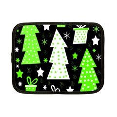 Green Playful Xmas Netbook Case (small)  by Valentinaart