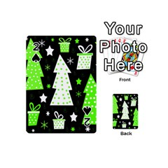 Green Playful Xmas Playing Cards 54 (mini)  by Valentinaart