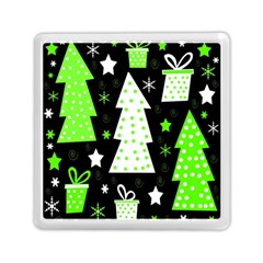 Green Playful Xmas Memory Card Reader (square)  by Valentinaart