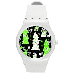 Green Playful Xmas Round Plastic Sport Watch (m) by Valentinaart