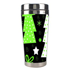 Green Playful Xmas Stainless Steel Travel Tumblers by Valentinaart