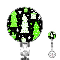 Green Playful Xmas Stainless Steel Nurses Watch by Valentinaart