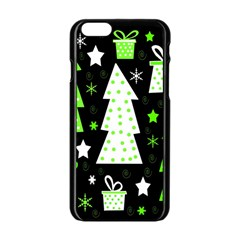 Green Playful Xmas Apple Iphone 6/6s Black Enamel Case by Valentinaart