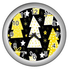 Yellow Playful Xmas Wall Clocks (silver)  by Valentinaart