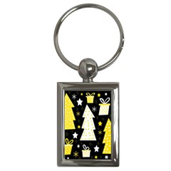 Yellow Playful Xmas Key Chains (rectangle)  by Valentinaart
