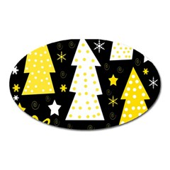 Yellow Playful Xmas Oval Magnet by Valentinaart