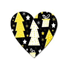 Yellow Playful Xmas Heart Magnet by Valentinaart