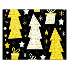 Yellow Playful Xmas Rectangular Jigsaw Puzzl by Valentinaart