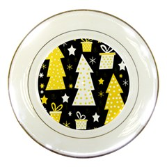 Yellow Playful Xmas Porcelain Plates by Valentinaart