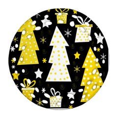 Yellow Playful Xmas Round Filigree Ornament (2side) by Valentinaart