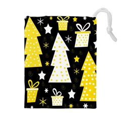 Yellow Playful Xmas Drawstring Pouches (extra Large) by Valentinaart