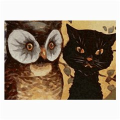 Owl And Black Cat Large Glasses Cloth (2-Side)