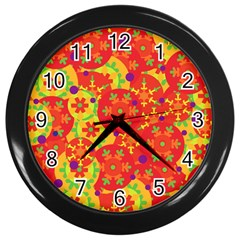 Orange Design Wall Clocks (black) by Valentinaart