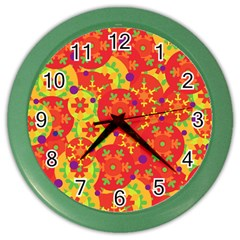 Orange design Color Wall Clocks by Valentinaart