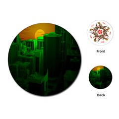 Green Building City Night Playing Cards (Round)  by Zeze