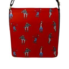 Drake Ugly Holiday Christmas   Flap Messenger Bag (l)  by Onesevenart