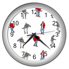 Drake Ugly Holiday Christmas Wall Clocks (silver)  by Onesevenart