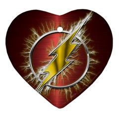 Flash Flashy Logo Ornament (heart)  by Onesevenart