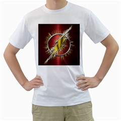 Flash Flashy Logo Men s T Shirt (white) (two Sided) by Onesevenart