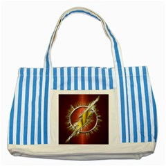 Flash Flashy Logo Striped Blue Tote Bag by Onesevenart