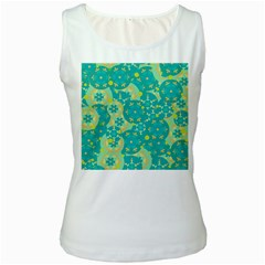 Cyan design Women s White Tank Top by Valentinaart