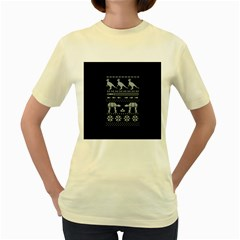 Holiday Party Attire Ugly Christmas Black Background Women s Yellow T Shirt by Onesevenart