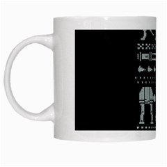 Holiday Party Attire Ugly Christmas Black Background White Mugs by Onesevenart