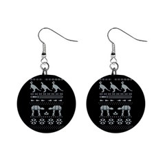 Holiday Party Attire Ugly Christmas Black Background Mini Button Earrings by Onesevenart