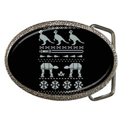 Holiday Party Attire Ugly Christmas Black Background Belt Buckles by Onesevenart