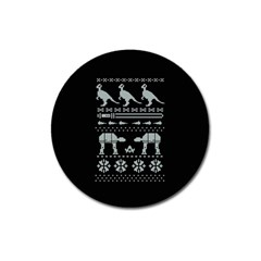 Holiday Party Attire Ugly Christmas Black Background Magnet 3  (round) by Onesevenart