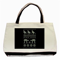 Holiday Party Attire Ugly Christmas Black Background Basic Tote Bag by Onesevenart