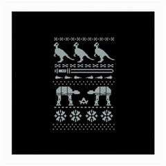 Holiday Party Attire Ugly Christmas Black Background Medium Glasses Cloth by Onesevenart