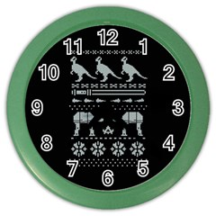 Holiday Party Attire Ugly Christmas Black Background Color Wall Clocks by Onesevenart