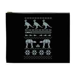 Holiday Party Attire Ugly Christmas Black Background Cosmetic Bag (xl) by Onesevenart
