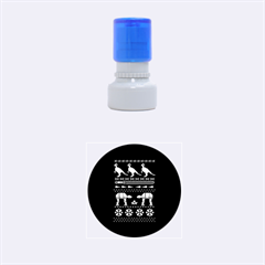 Holiday Party Attire Ugly Christmas Black Background Rubber Round Stamps (small) by Onesevenart
